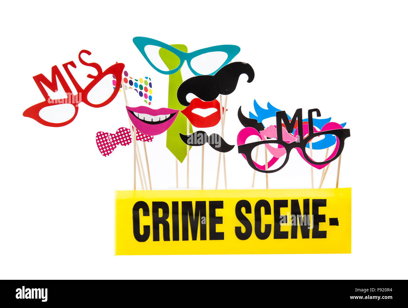 Photo Booth Props on a White Background with Crime Scene Tape - Stock Image
