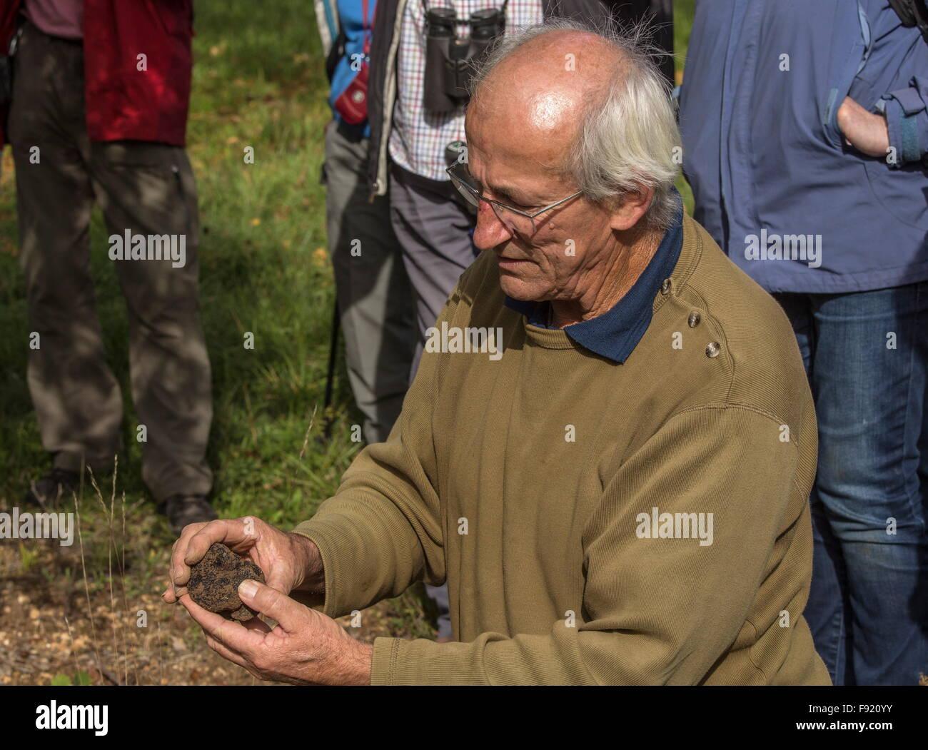 Truffle farmer, Edouard Aynard, at the Truffle farm at Pechalifour, Dordogne. Stock Photo