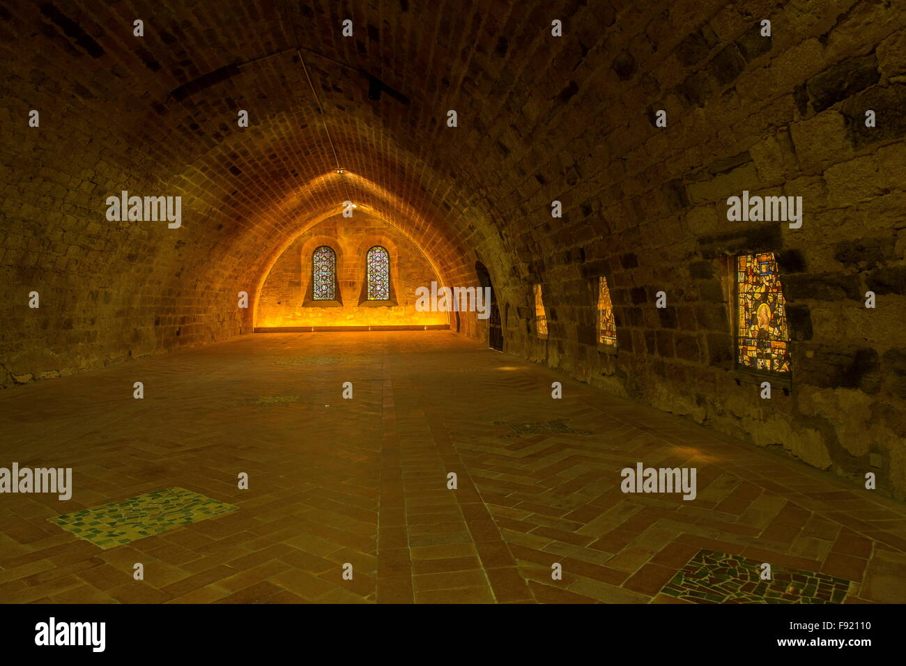 Inside the lay dormitory, L'Abbaye Sainte-Marie de Fontfroide, or Fontfroide Abbey, near Narbonne, SW France. - Stock Image