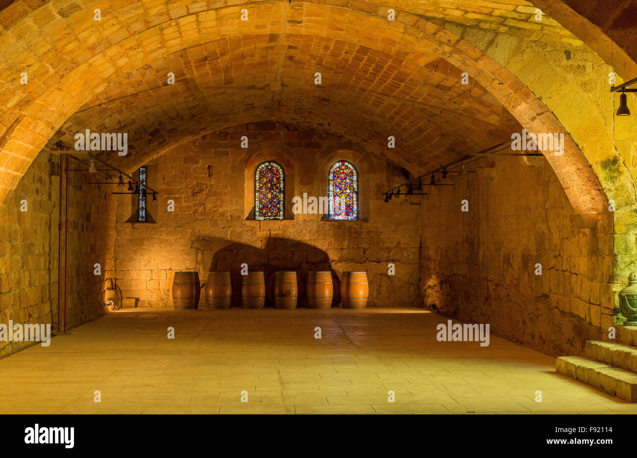 The cellar, cellier at L'Abbaye Sainte-Marie de Fontfroide, or Fontfroide Abbey, near Narbonne, SW France. Stock Photo