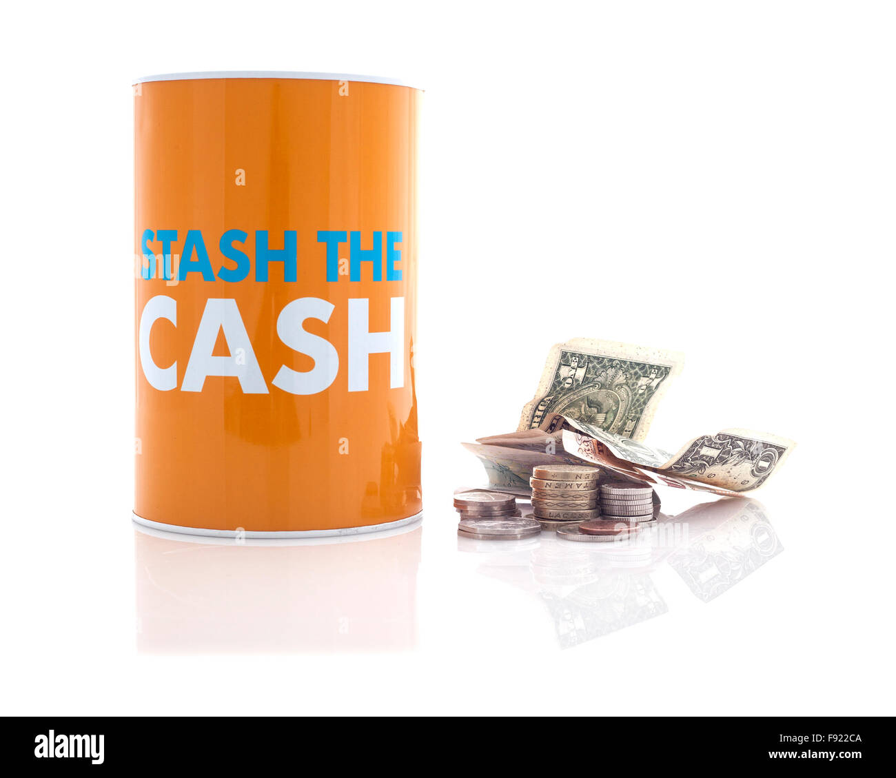 Stash the Cash Money Saving Concept on a white background - Stock Image