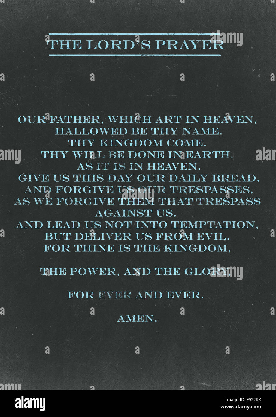 The Lords Prayer hand written on a Chalkboard - Stock Image