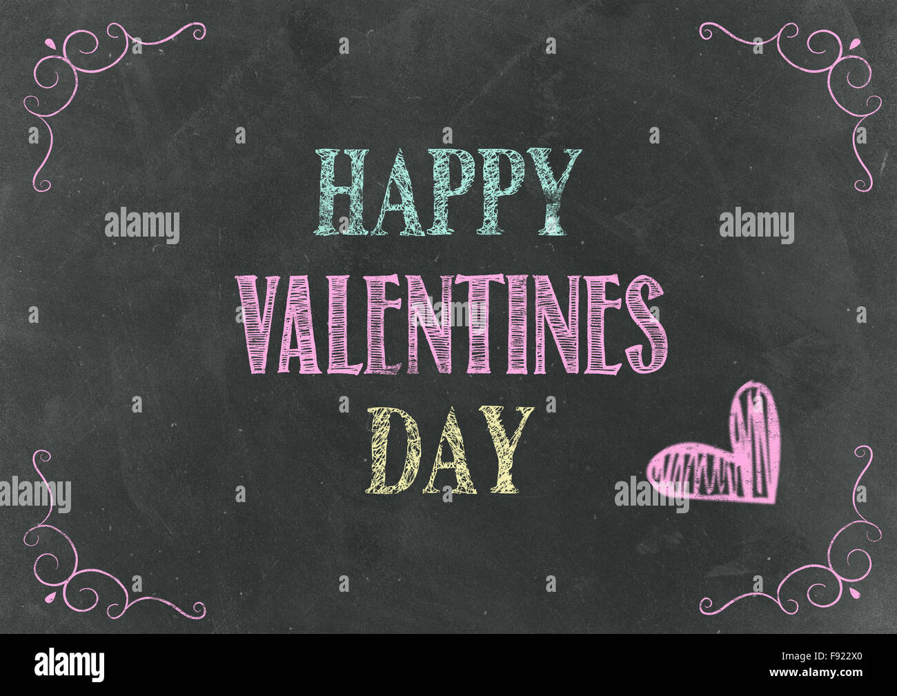 Happy Valentine S Day Hand Lettering Set On Chalkboard Stock Photo