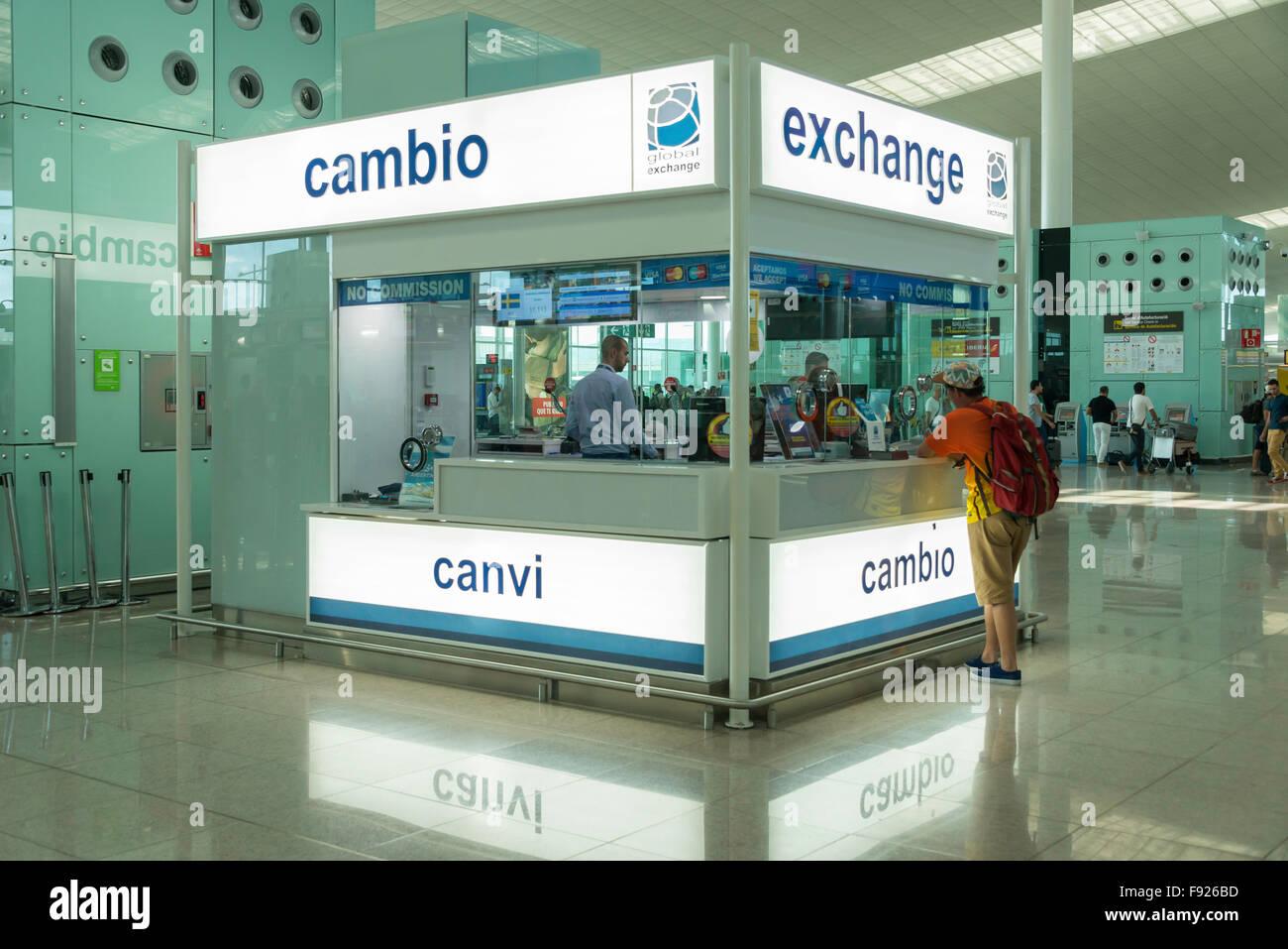 Currency exchange (Cambio) booth inside Barcelona–El Prat Airport, El Prat de Llobregat, Baix Llobregat County, - Stock Image