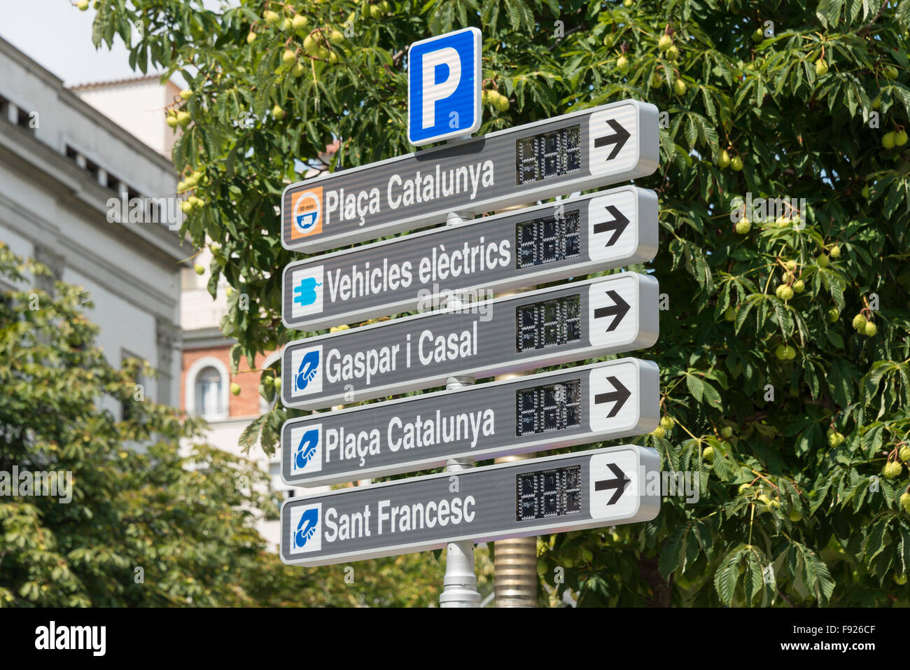 Parking direction signs, Girona (Gerona), Province of Girona, Catalonia, Spain Stock Photo