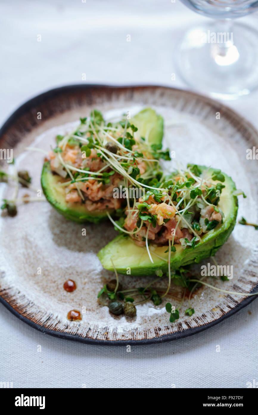 Salmon tartare and avocado - Stock Image