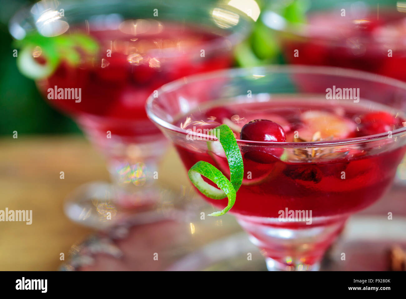 Cranberry and Clementine Christmas cocktail - Stock Image