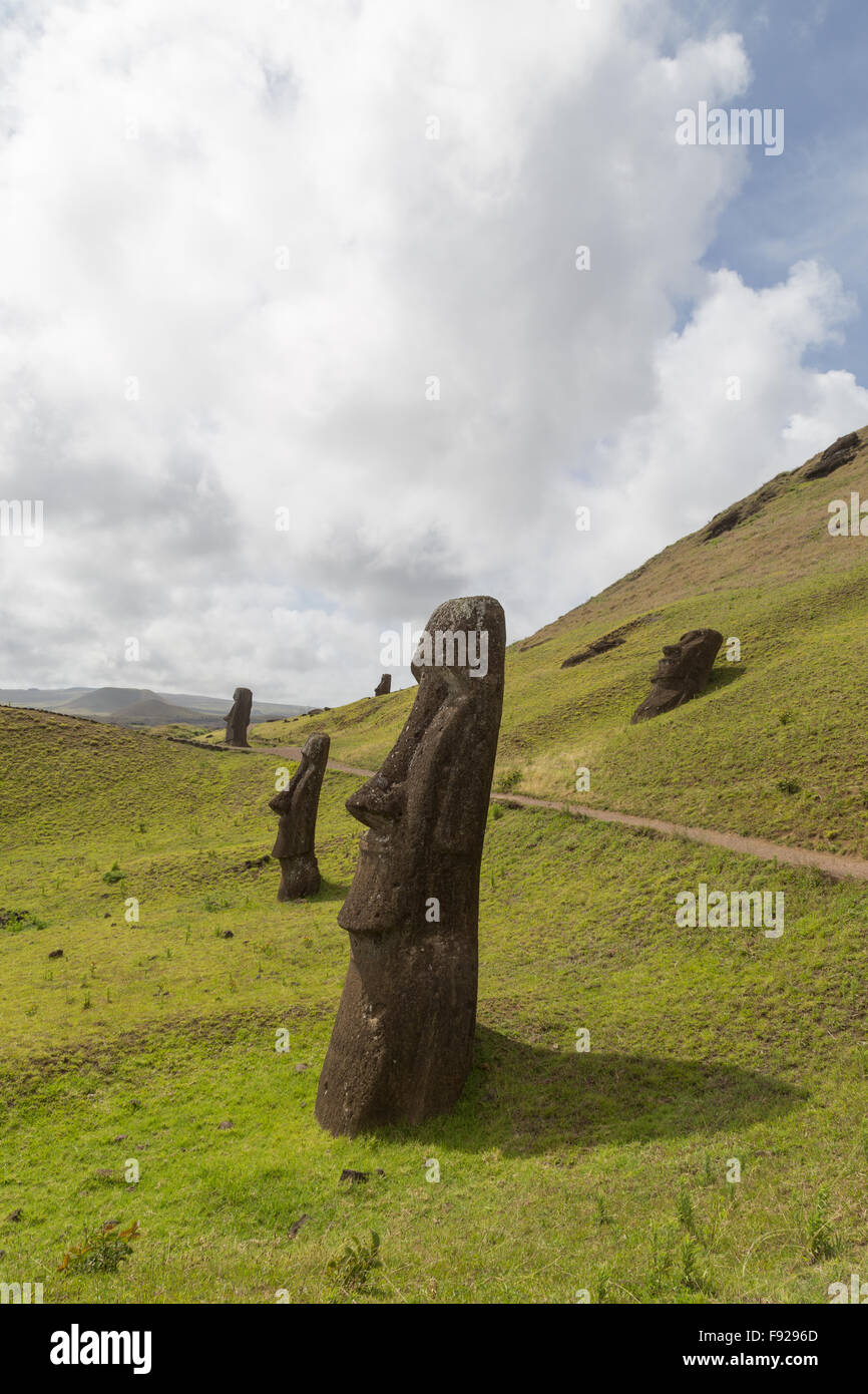 Photograph of the moais at Rano Raraku stone quarry on Easter Island in Chile. - Stock Image