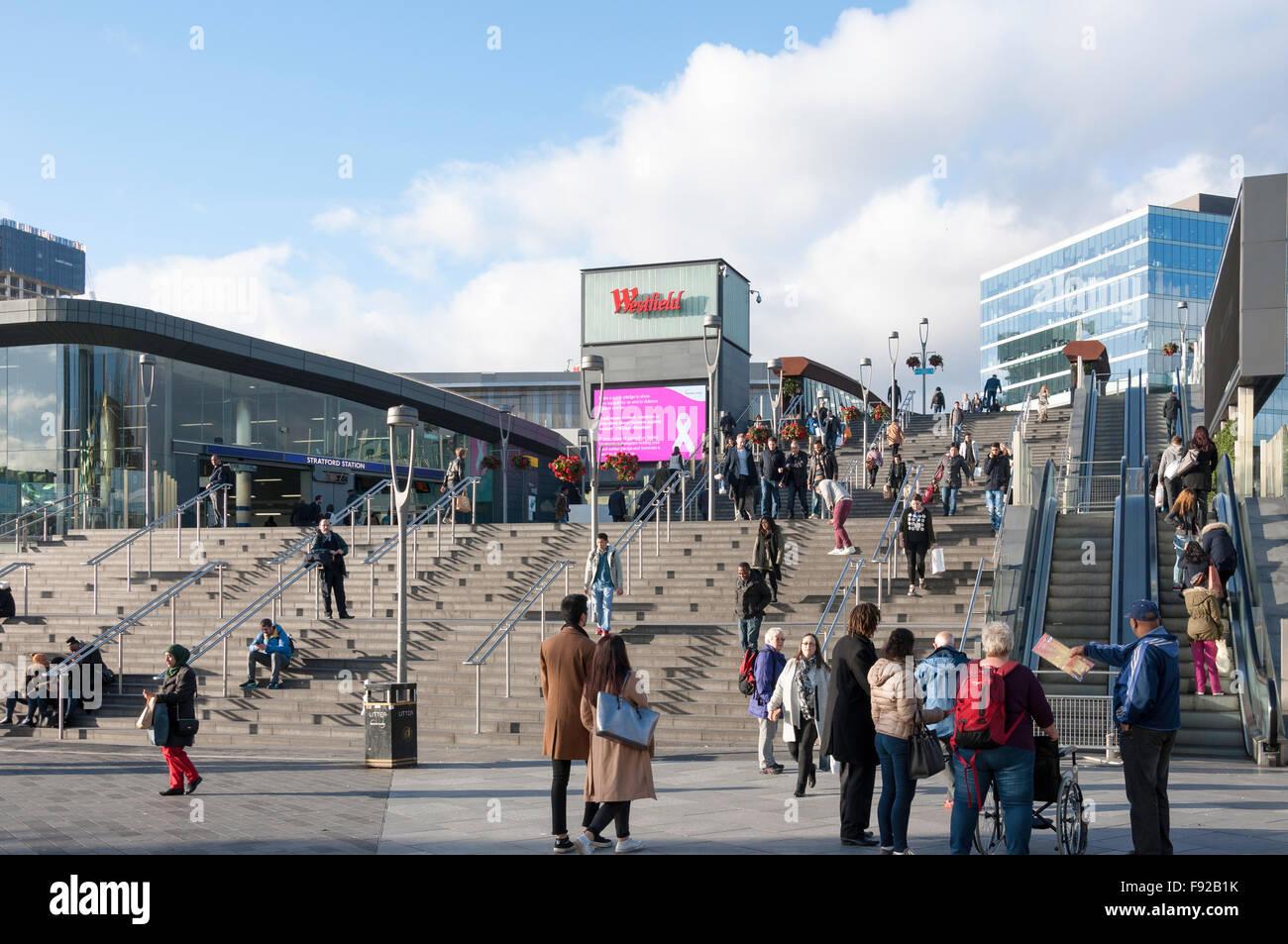 Bridge to Westfield Shopping Centre, Stratford, Newham Borough, Greater London, England, United Kingdom Stock Photo