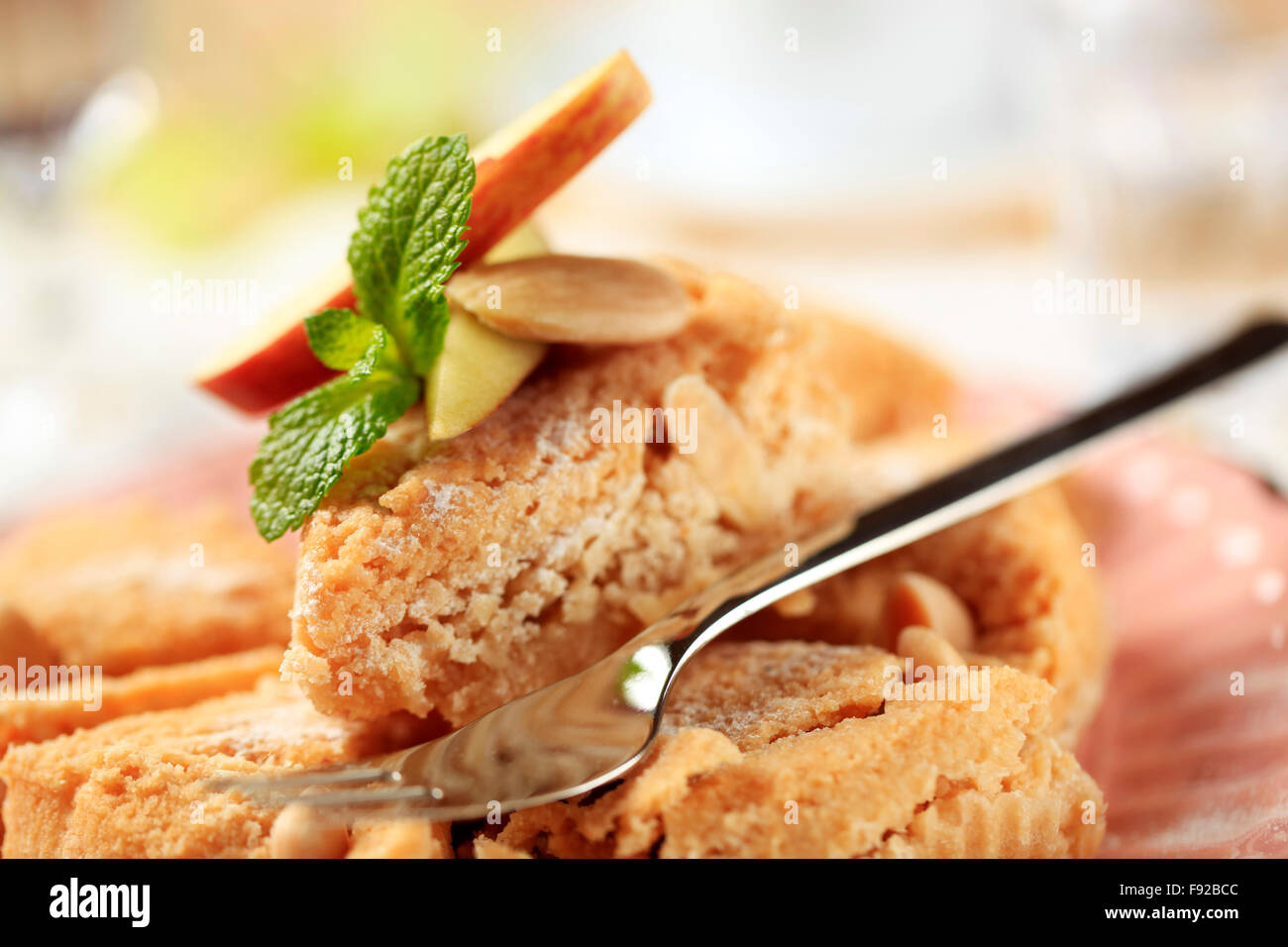 Fresh baked almond dessert pie - Stock Image