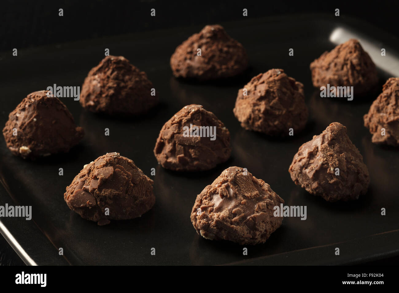 Chocolate truffles - Stock Image