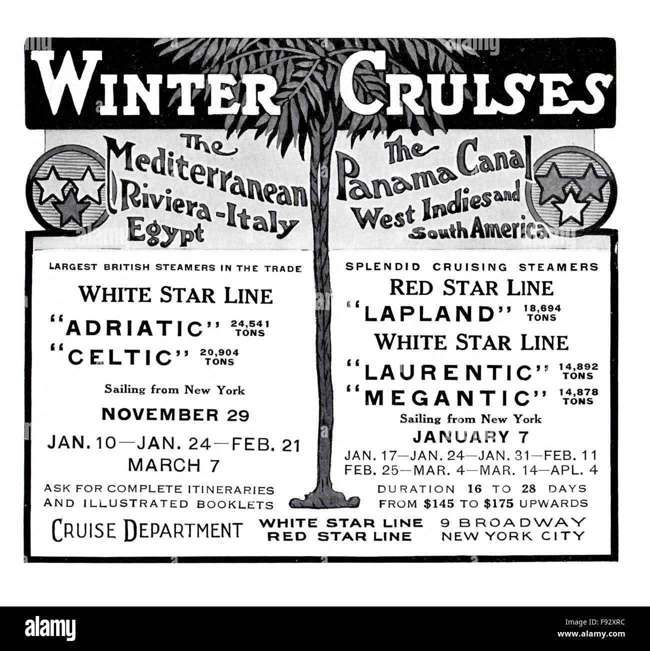 White Star Line, 1913 Winter Cruises advertisement from The International Studio Magazine - Stock Image