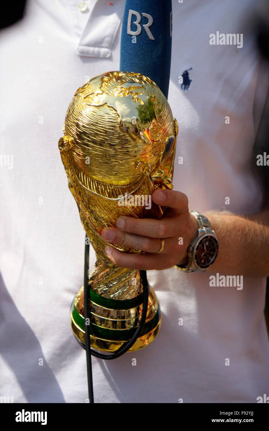 Modell des FIFA Worldcup - Impressionen - Empfang der dt. Fussballnationalmannschaft nach dem Gewinn der Fussball - Stock Image