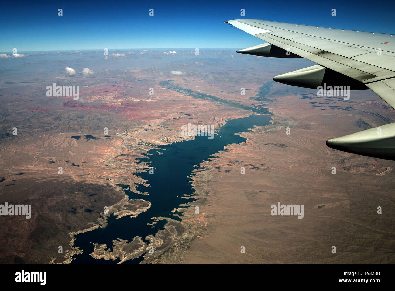 Lake Mead, view from plane, Nevada, USA Stock Photo