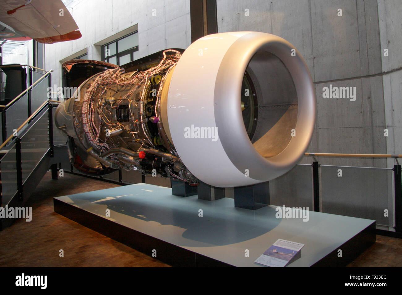 Turbine eines Duesenjets - Deutsches Technikmuseum, Berlin-Kreuzberg. - Stock Image