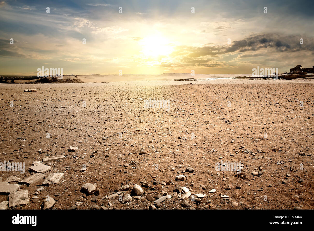 Cloudy sky in stony desert of Egypt - Stock Image