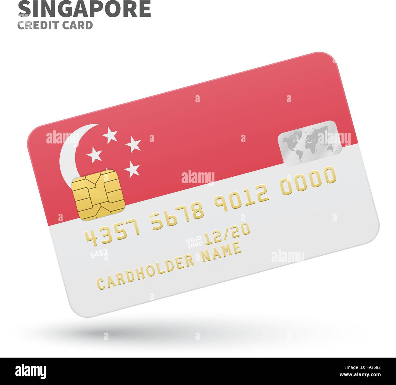 Credit card with singapore flag background for bank presentations credit card with singapore flag background for bank presentations and business isolated on white colourmoves