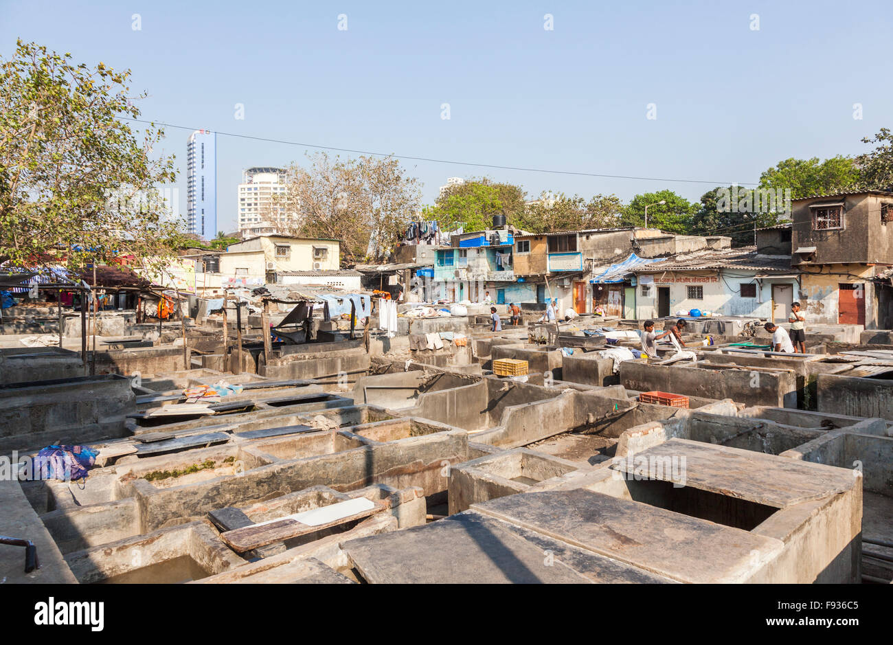 Dhobi Ghat, a well-known, large, open air laundromat in Mumbai, India on a sunny day with blue sky Stock Photo