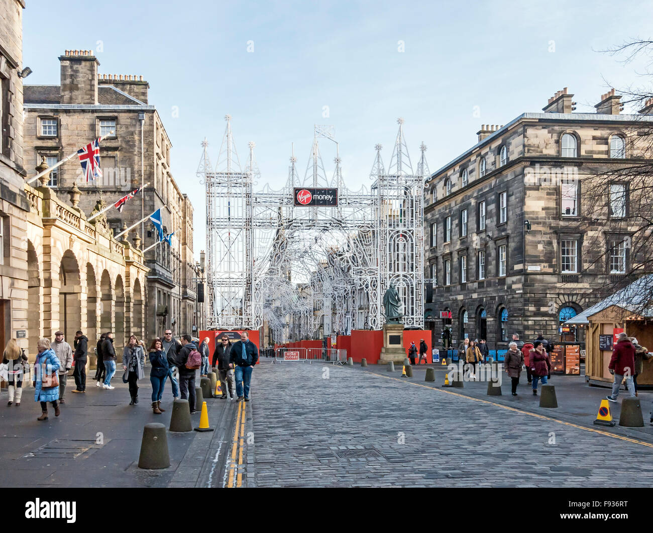 Virgin Money Street of Light in the High Street The Royal Mile Edinburgh Scotland Xmas 2015 seen from west end - Stock Image