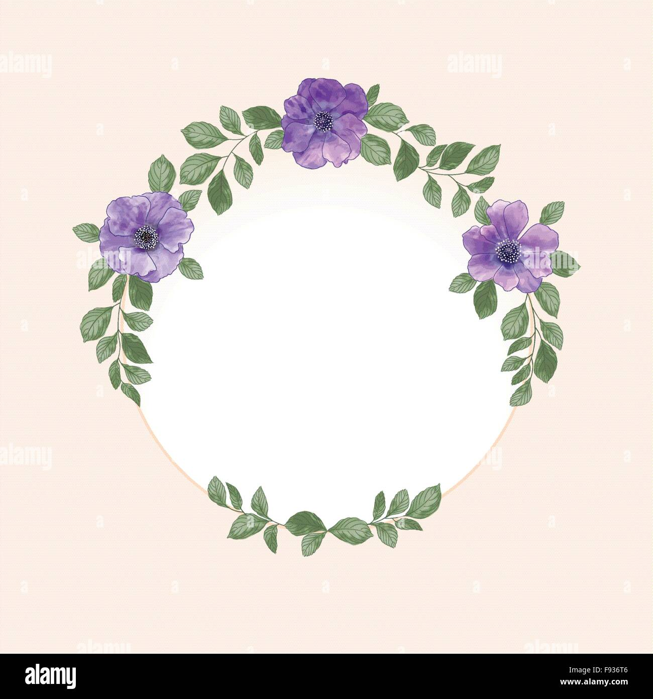 Vector Watercolor Round Flower Frame Hand Draw Romantic Floral Border