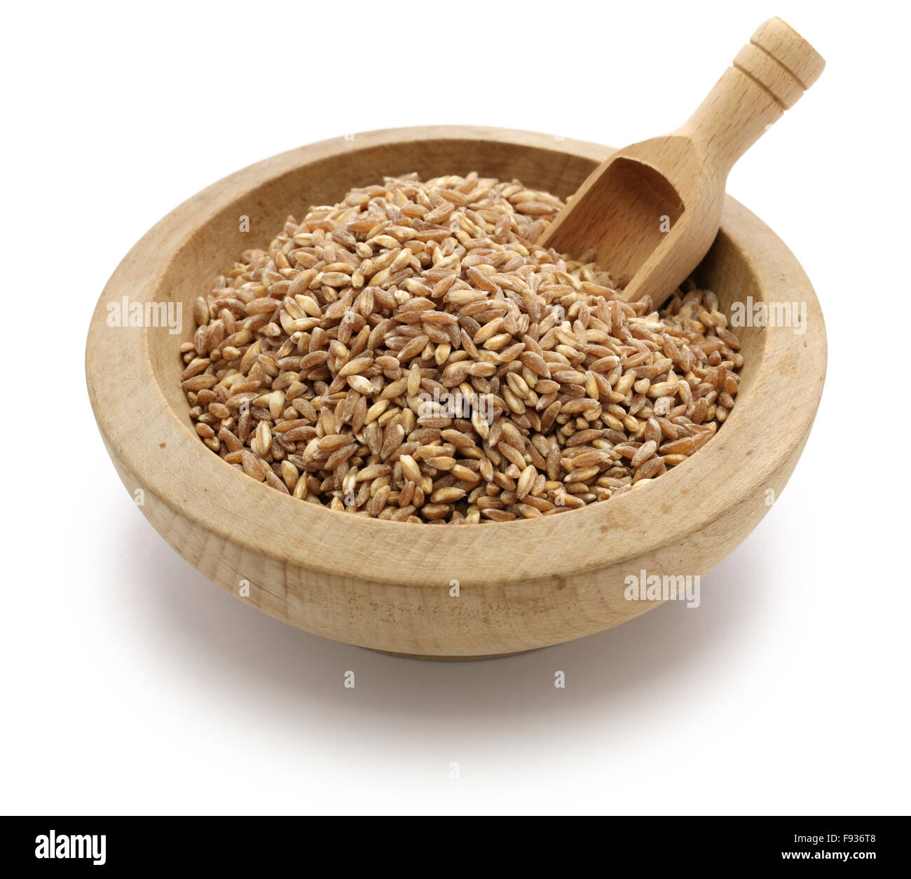 spelt, farro, primitive wheat isolated on white background - Stock Image