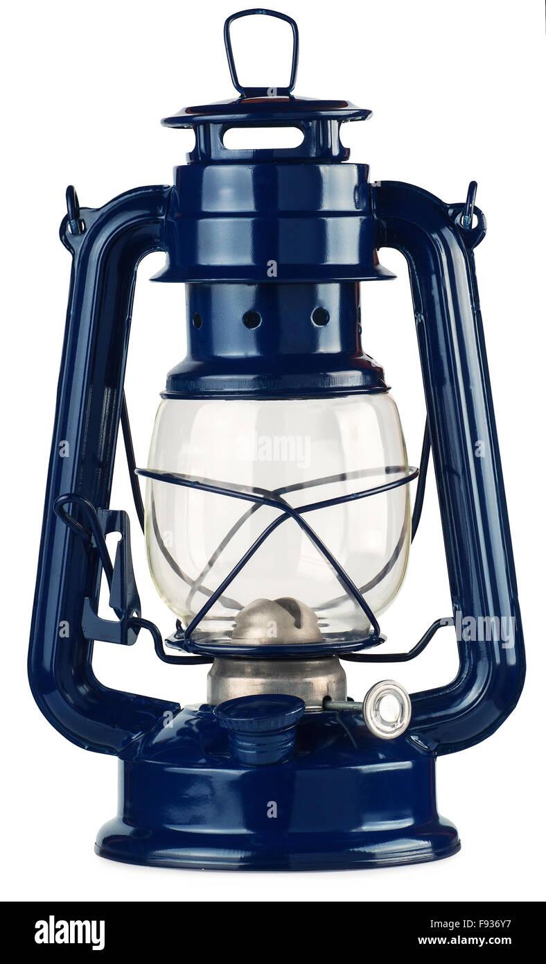 blue kerosene lantern isolated on white background - Stock Image