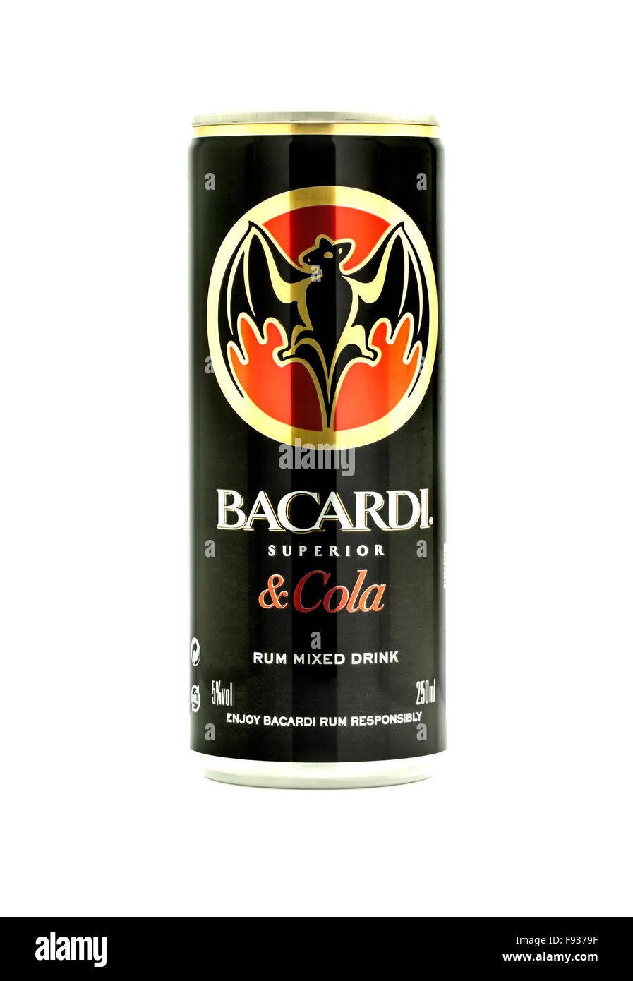 Can Of Bacardi and Cola mixer drink on a white background - Stock Image