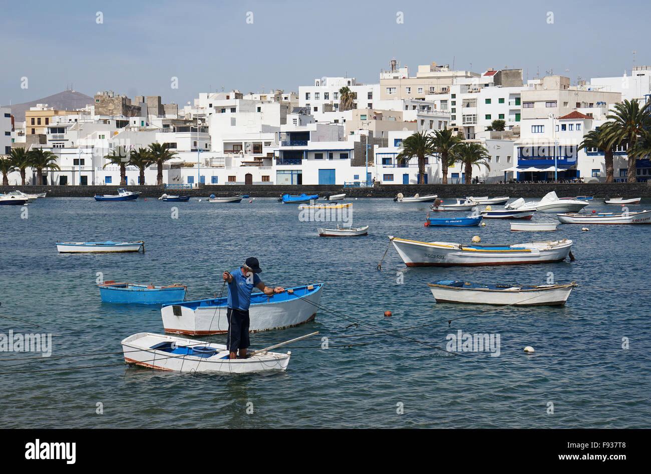 Inner harbour, Arrecife, Lanzarote, Canary Islands - Stock Image