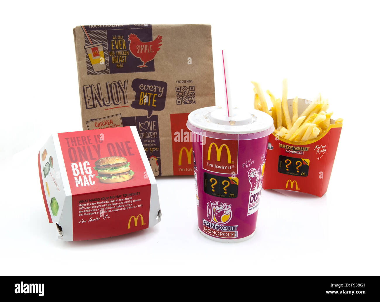 McDonalds Big Mac Meal on a white background - Stock Image