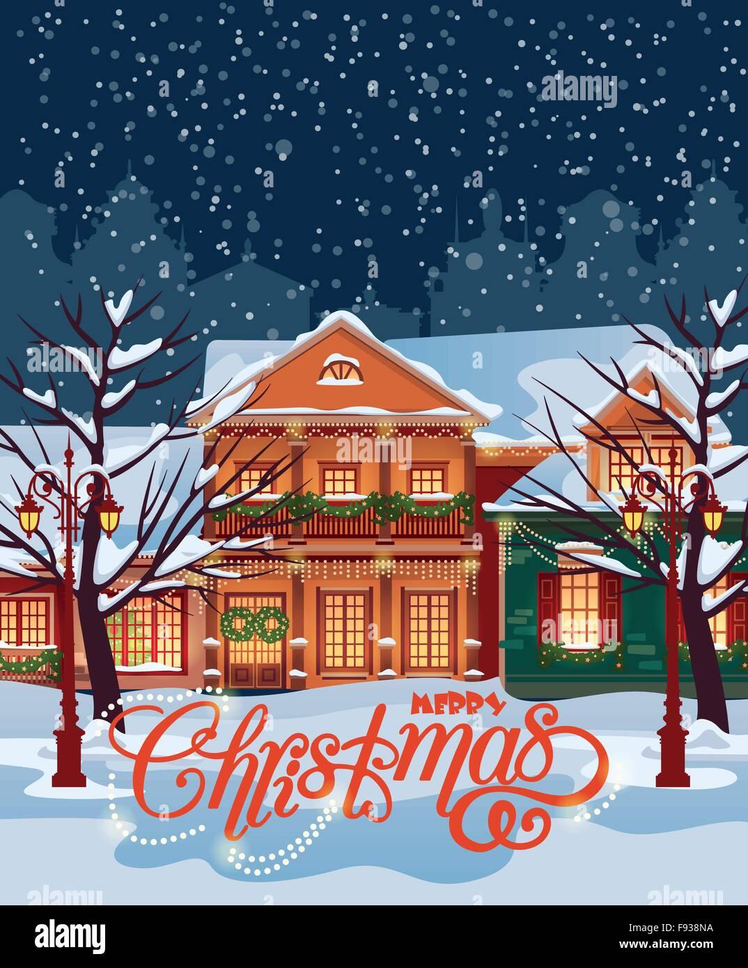 Admirable Christmas Town Illustration Winter Landscape Greeting Card Interior Design Ideas Skatsoteloinfo