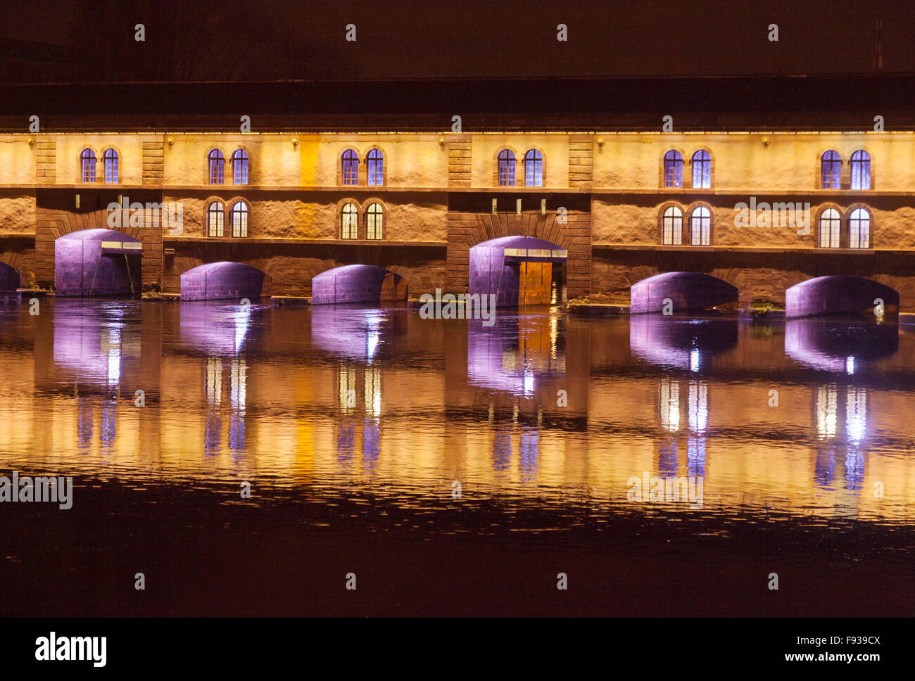 The Barrage Vauban on the River Ill at night, Strasbourg, France Europe - Stock Image