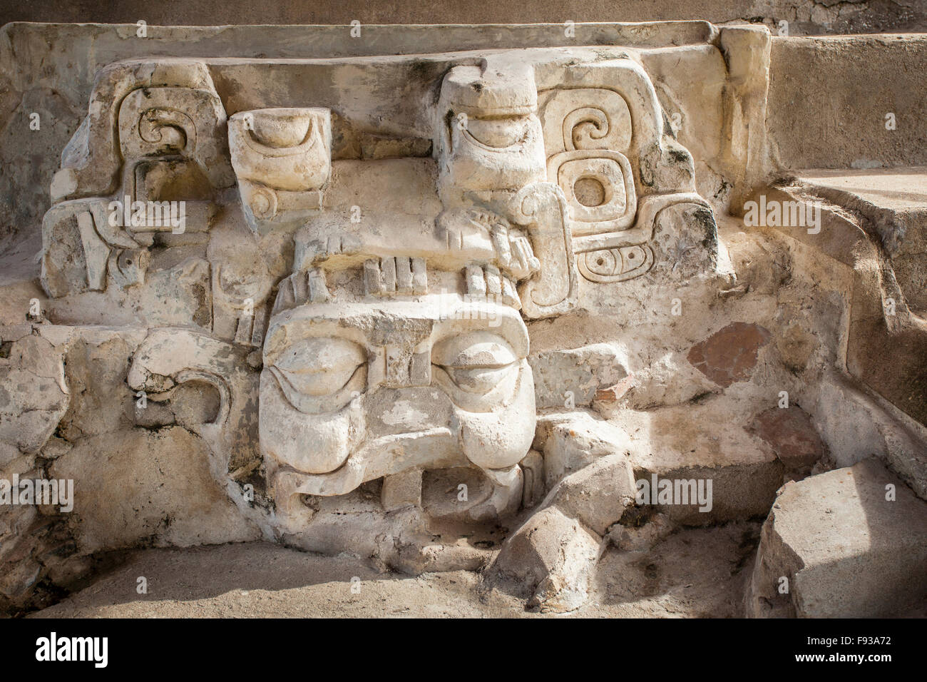 Mascaron at the Mayan ruins of Comalcalco, Tabasco, Mexico. - Stock Image