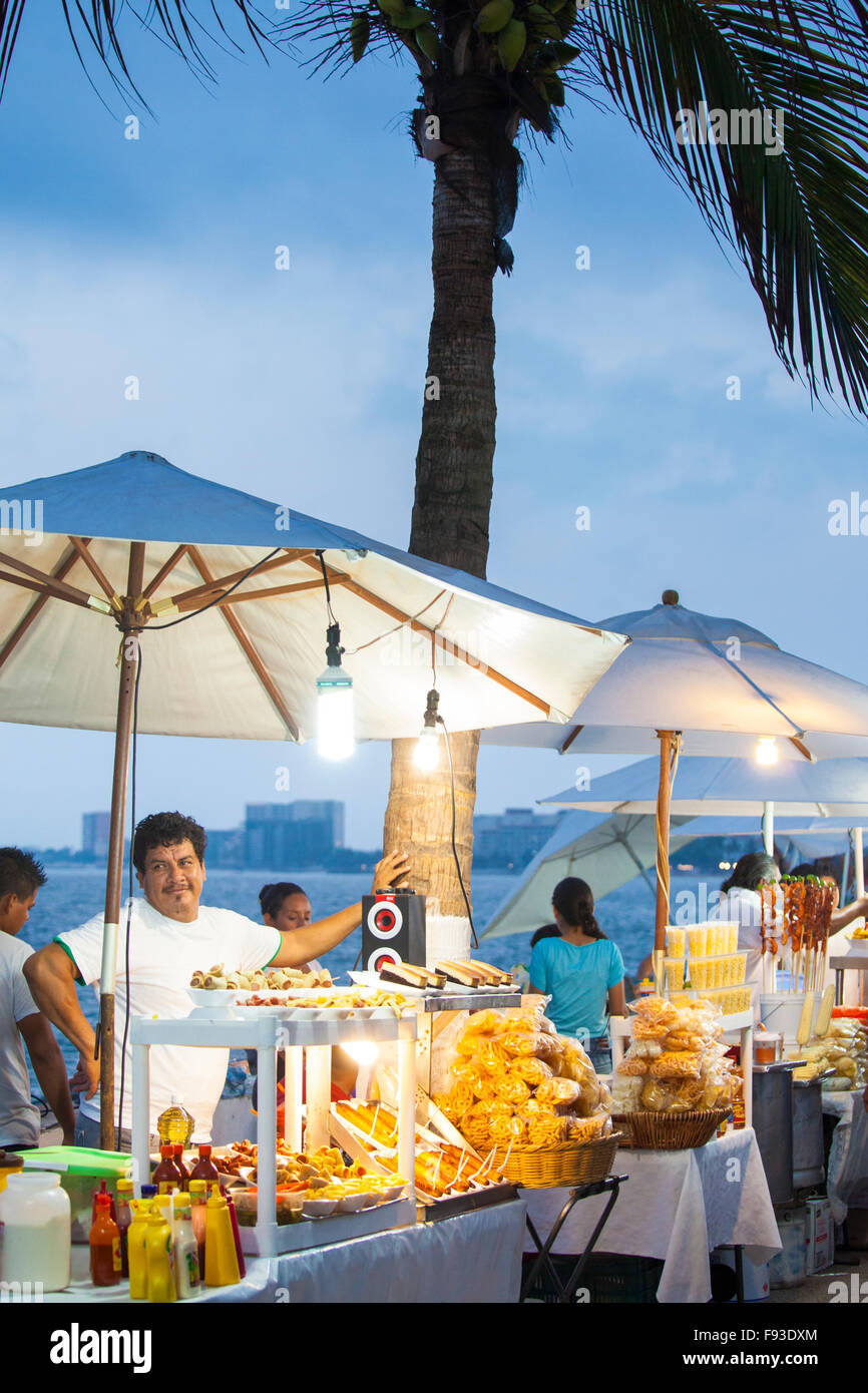 Street food stands on the malecon in Puerto Vallarta, Mexico. Stock Photo