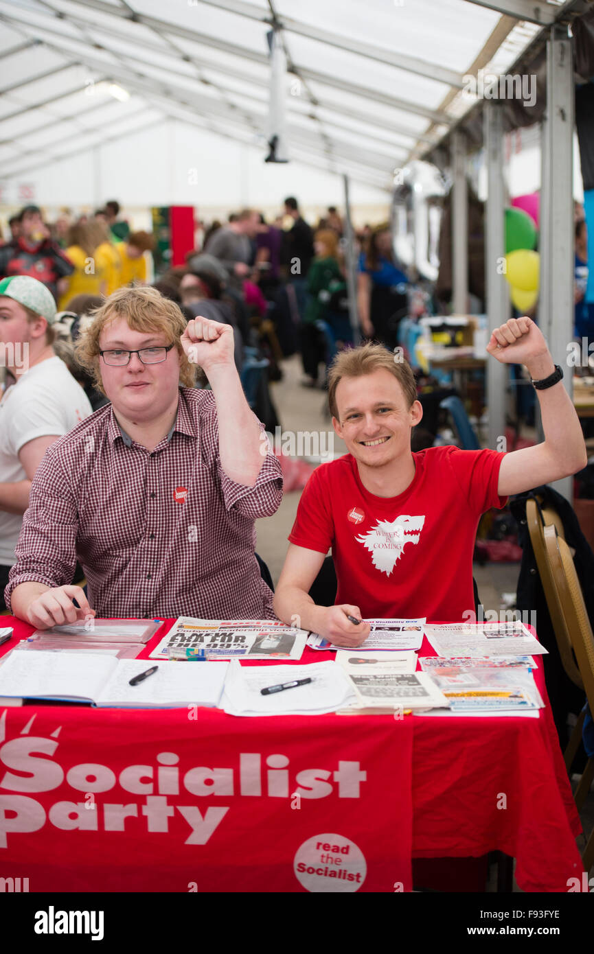 Student Politics: Freshers Week at University UK: Aberystwyth university undergraduate  Socialist Party members, - Stock Image