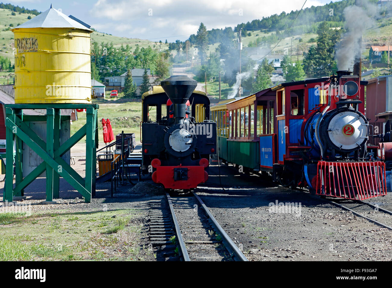 Train engines and water tank, Cripple Creek and Victor Narrow Gauge Railroad, Bull Hill Station, Cripple Creek, - Stock Image