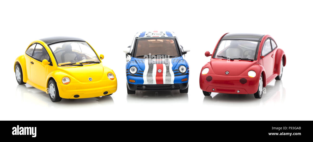 3 VW Beetle Die cast models on a white background. - Stock Image