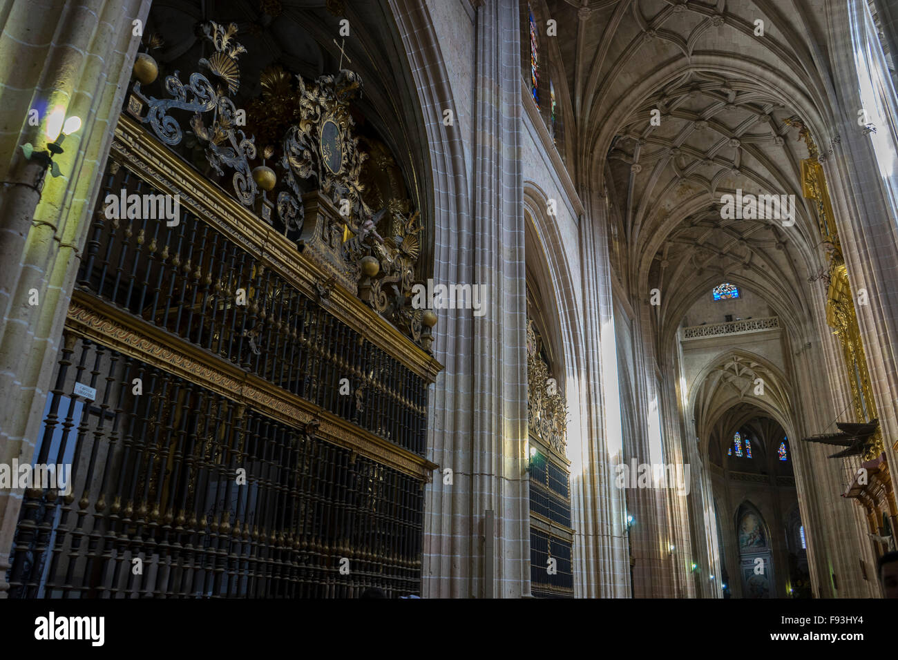 Christianity Interior Gothic Cathedral Of Segovia Columns And Arches With Large Windows