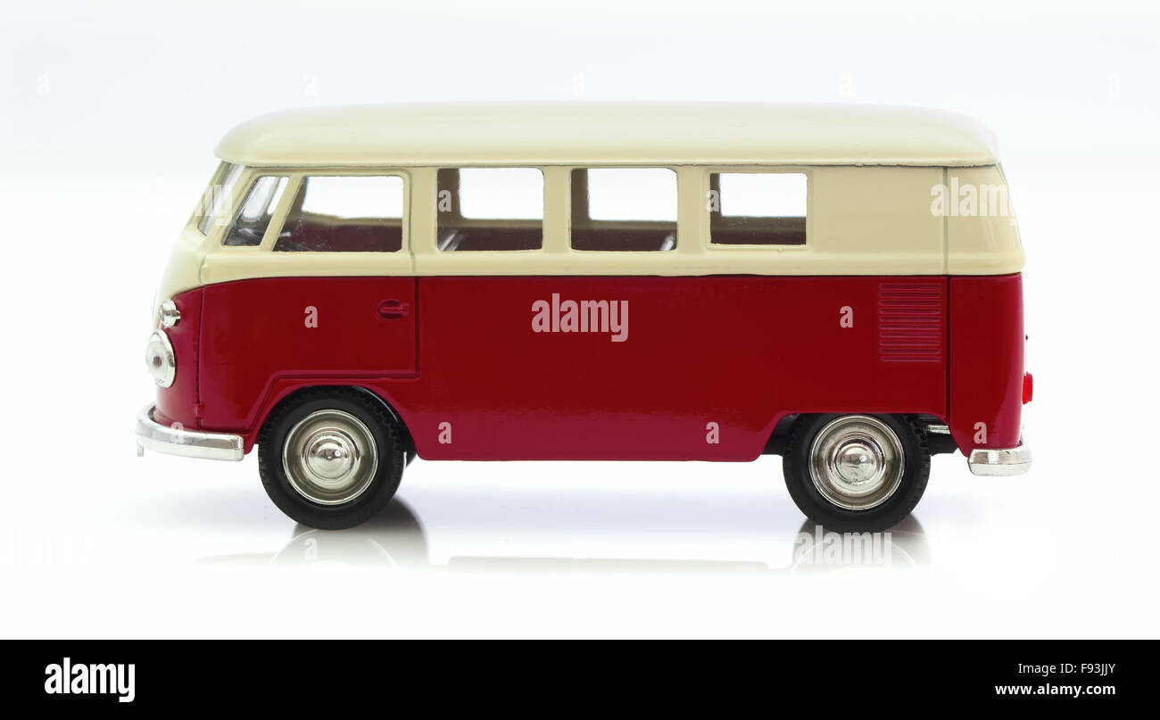 Classic Old VW Camper Made By Corgi on a White Background - Stock Image