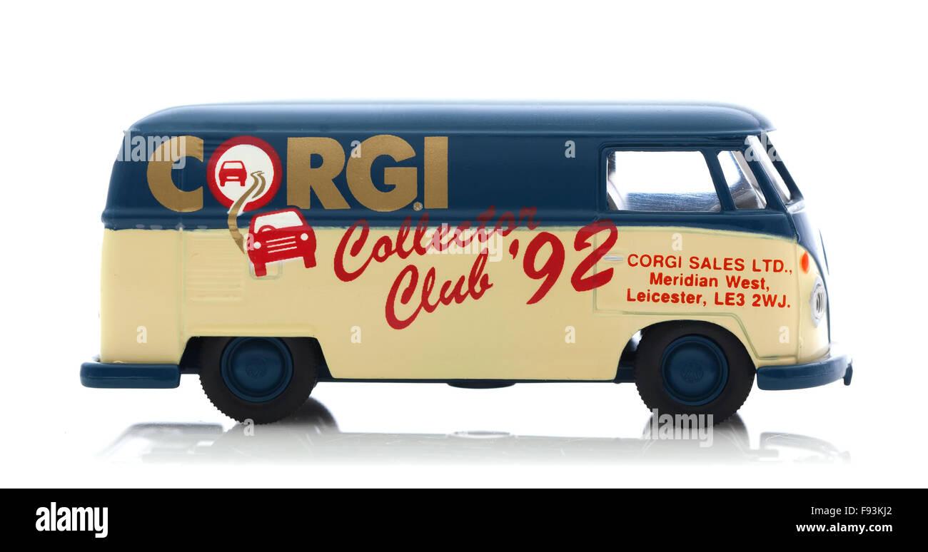 VW Van with Corgi Collectors Club 92 Logo on a White Background - Stock Image