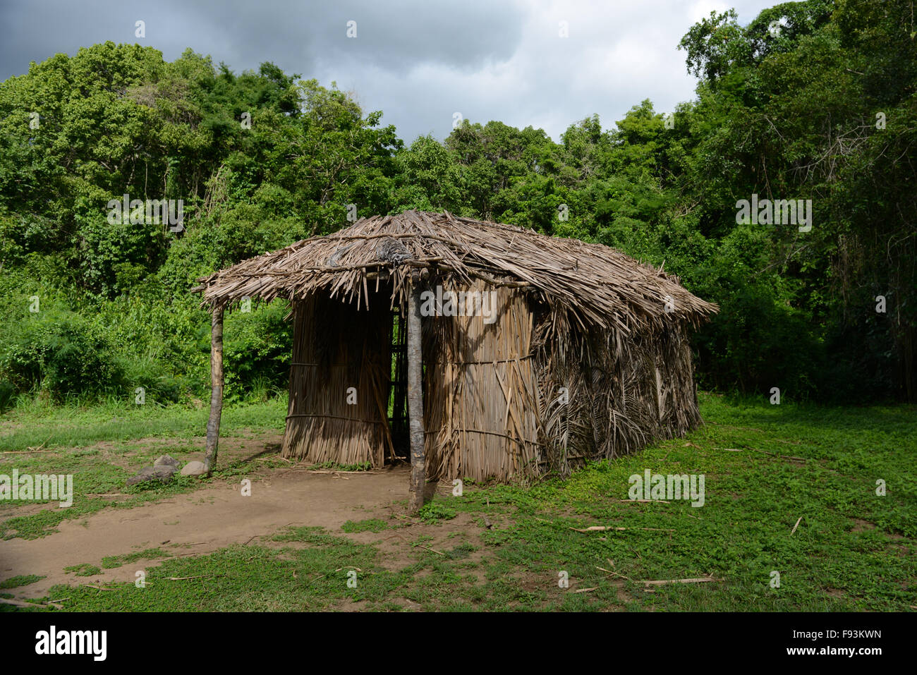 Replica of a Indigenous hut at the Tibes Indigenous Ceremonial Center. Ponce, Puerto Rico. Caribbean Island. USA - Stock Image