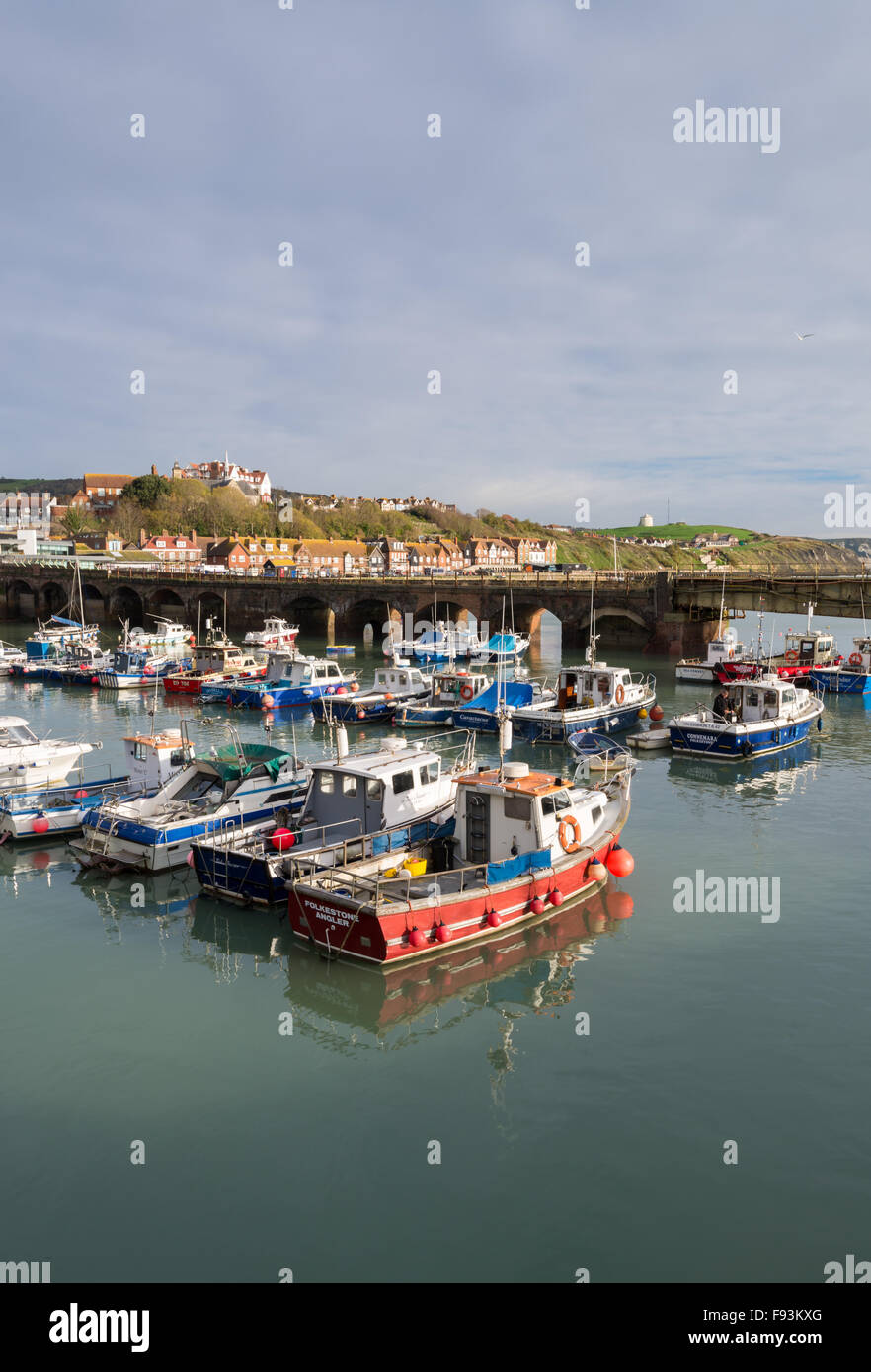 The fishing boats at Folkestone Harbour on the Kent coast. - Stock Image