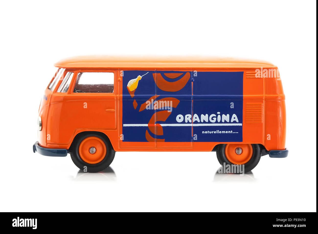 Old VW Van with Orangina Logo on a White Background - Stock Image
