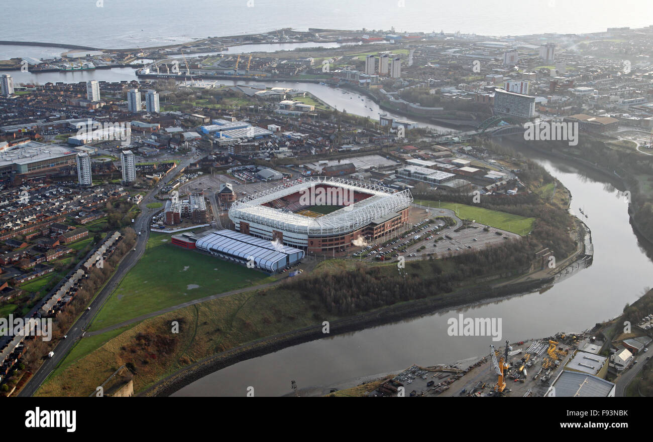 aerial view of The Stadium of Light and River Wear in Sunderland, UK - Stock Image