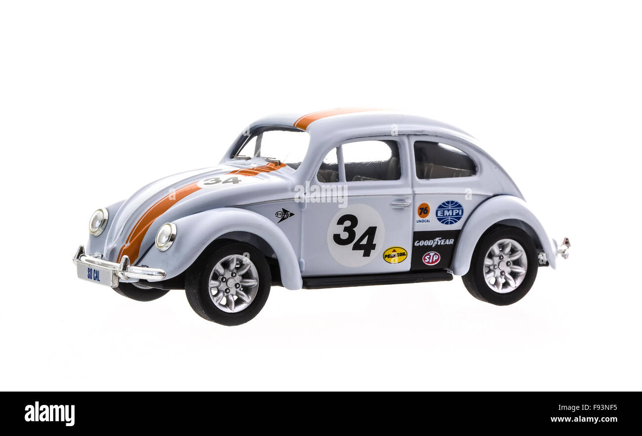 VW Beetle in Race Trim  Die cast model on a white background. - Stock Image