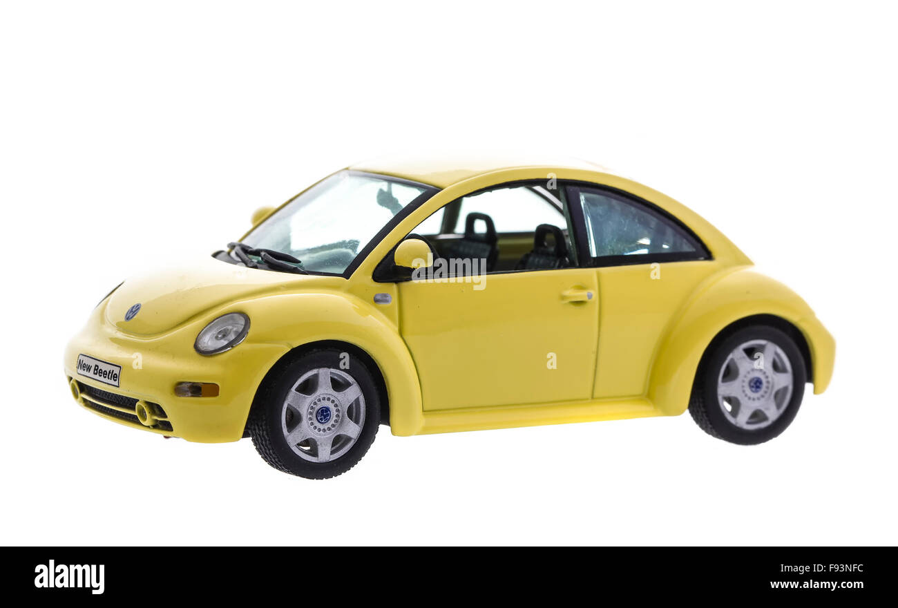 Scale Model of a New Beetle by Volkswagen on a white background Stock Photo