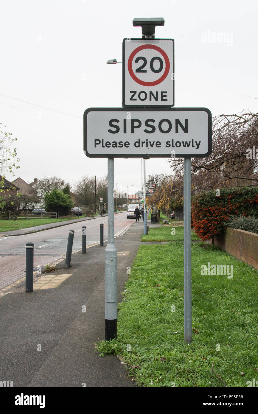 Please drive slowly sign in Sipson an ancient village threatened with destruction due to Heathrow Airport expansion - Stock Image