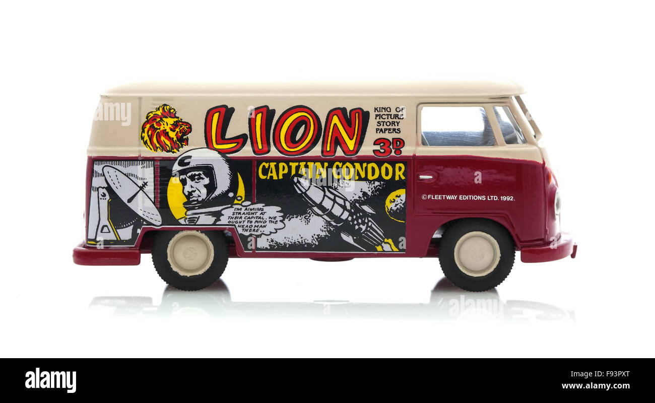 VW Van with Lion Story Paper Logo on a White Background - Stock Image
