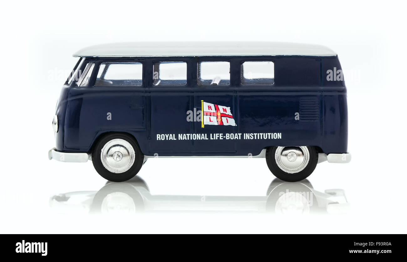VW Van with RNLI Logo on a White Background - Stock Image