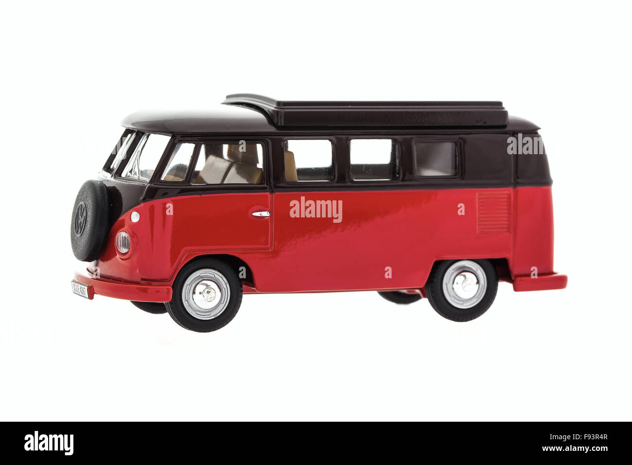Old VW Van Made By Corgi on a White Background - Stock Image