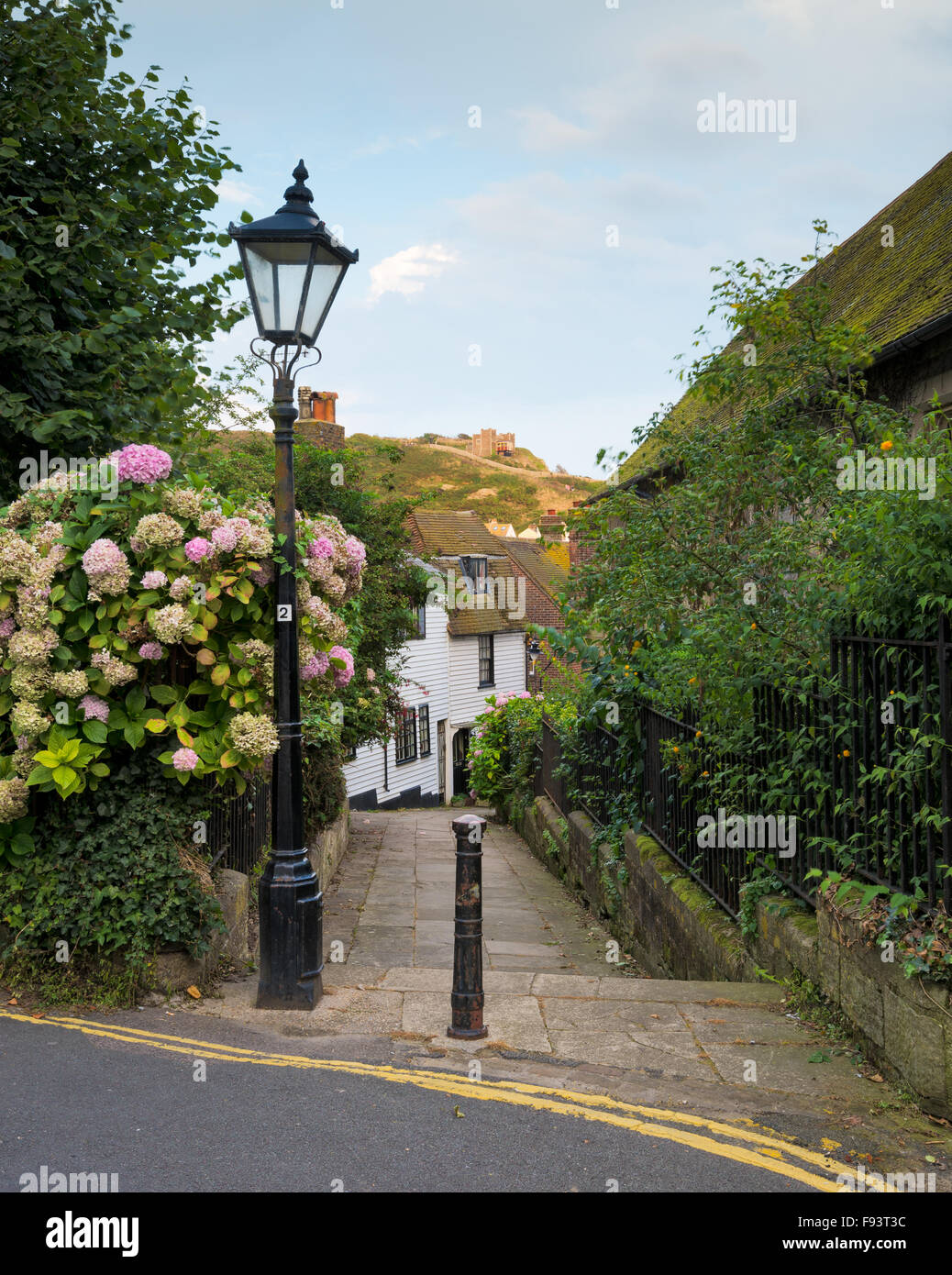 A view in Hastings Old Town, with the East Hill Cliff railway in the distance. - Stock Image